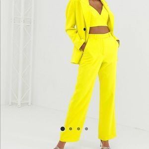Yellow high waisted wide leg pants